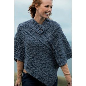 New Irish Asymmetrical Wool Poncho Sweater OS